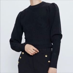NEW Zara Black Balloon Long Sleeve Knit Sweater S